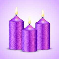 Vector illustration of purple candles