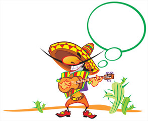 Amigo. Mexican song. Mexican singing on the background of cacti