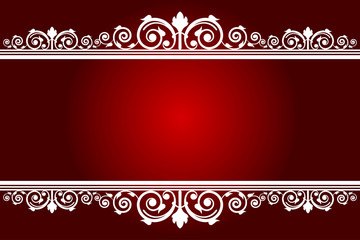 Vector red background with white decorated frame