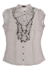 chiffon blouse with jabot