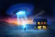 Leinwandbild Motiv UFO Abduction