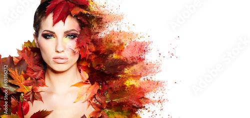 Leinwanddruck Bild Autumn Woman portrait with creative makeup