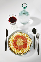 A plate of delicious Italian spaghetti with Bolognese sauce and