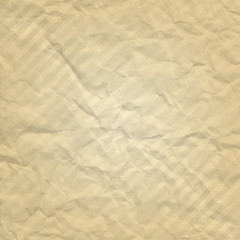 Vector beige crumpled paper with stripes