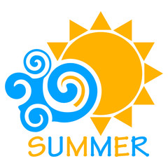 Vector summer icon - illustration of sun an wave