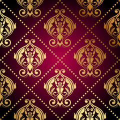 Vector maroon wallpaper with gold ornament