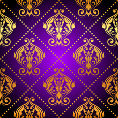 Vector luxury purple background with gold ornament