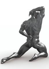 Kneeling silver male