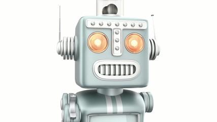 Vintage robot walking toward