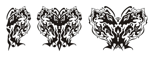 Tribal butterfly wing formed by the lion head and the eagle head