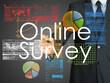 Businessman writes online survey on board