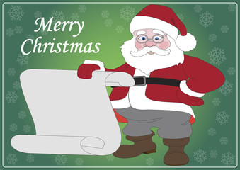 Illustration of Santa Claus with a sheet of white paper