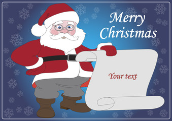 Illustration of Santa Claus with a sheet of white paper.