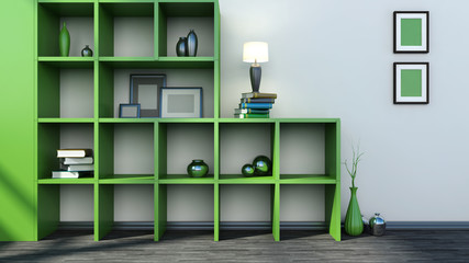 green shelf with vases, books and lamp