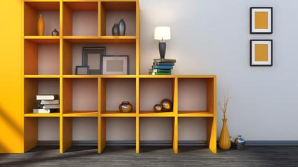 orange shelf with vases, books and lamp