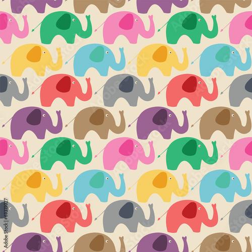Seamless retro elephant - 69319027