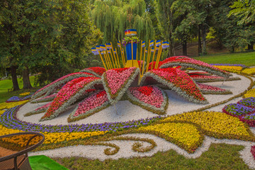 KIEV, UKRAINE - AUGUST 22. Flowerbed symbolizing all regions of