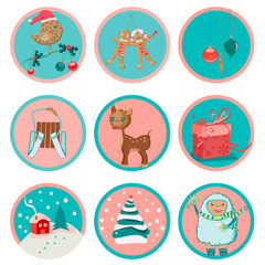 Vector design set of nine cute Christmas icons or stickers