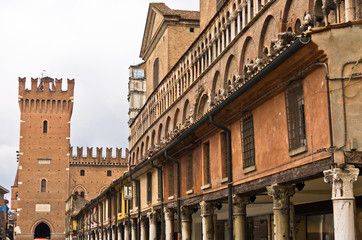 Architectural details on a main square at city of Ferrara, Italy