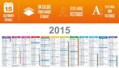 Calendrier 2015 éditable - calques / textes
