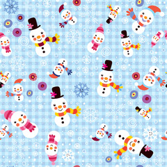 Christmas snowman & snowflakes winter seamless pattern