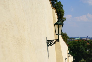 Wall street with lamps in  Prague