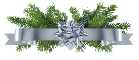 New year silver decoration with bow