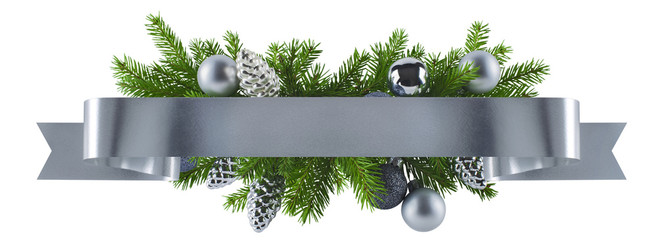 Festive straight ribbon silver decoration for Christmas