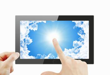 Black generic tablet pc, 3d render.