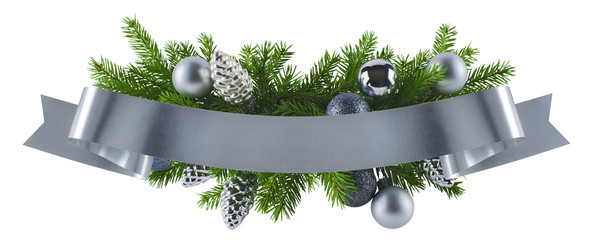 Festive rich christmas silver decoration element
