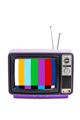 Vintage style old purple television isolated on white