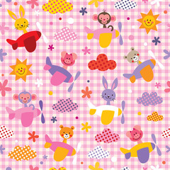 cute baby animals in airplanes seamless kids pattern