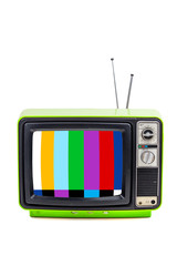 Vintage style old bright green television isolated on white