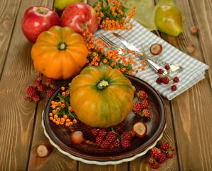 Cutlery and pumpkin