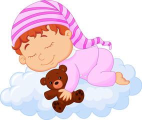 Baby sleeping on the cloud