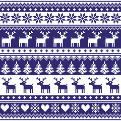 Winter, Nordic seamless navy blue pattern with reindeer