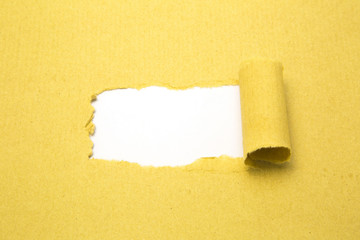 Torn brown paper with white background