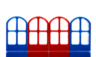Four empty door frames