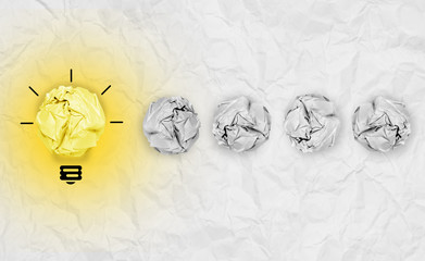 light bulb crumpled paper as creative concept