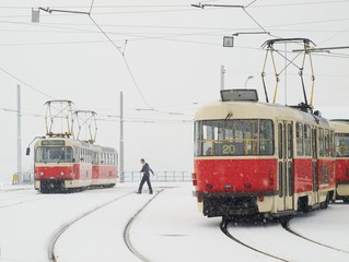Trams in Prague in heavy snowfall