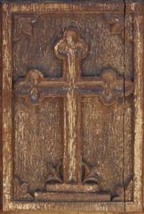 Antique wooden cross in warm tone. Greek