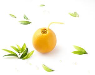 Orange juice canned concept image on white background