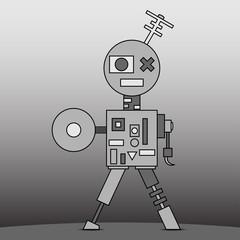 gray cartoon robot