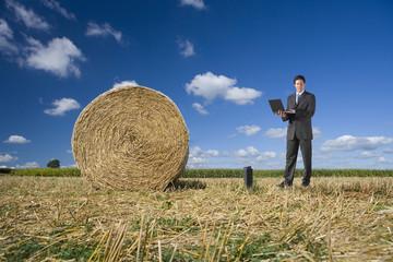 Businessman using laptop near hay bale