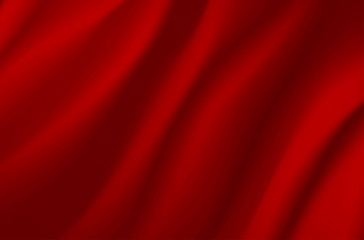 Background from red wavy fabric
