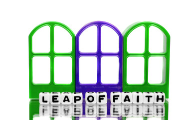 Leap of faith on green and blue doors
