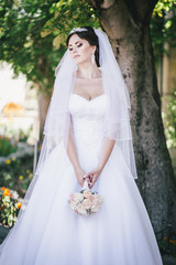 Beautiful bride posing in a park