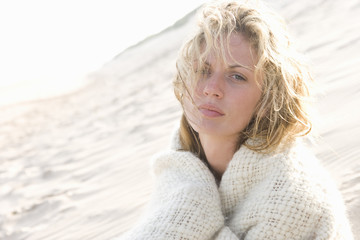 Portrait of young woman on beach