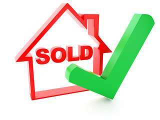 sold house and check mark on white background