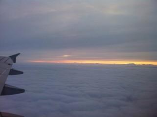 il tramonto visto dall'aereo